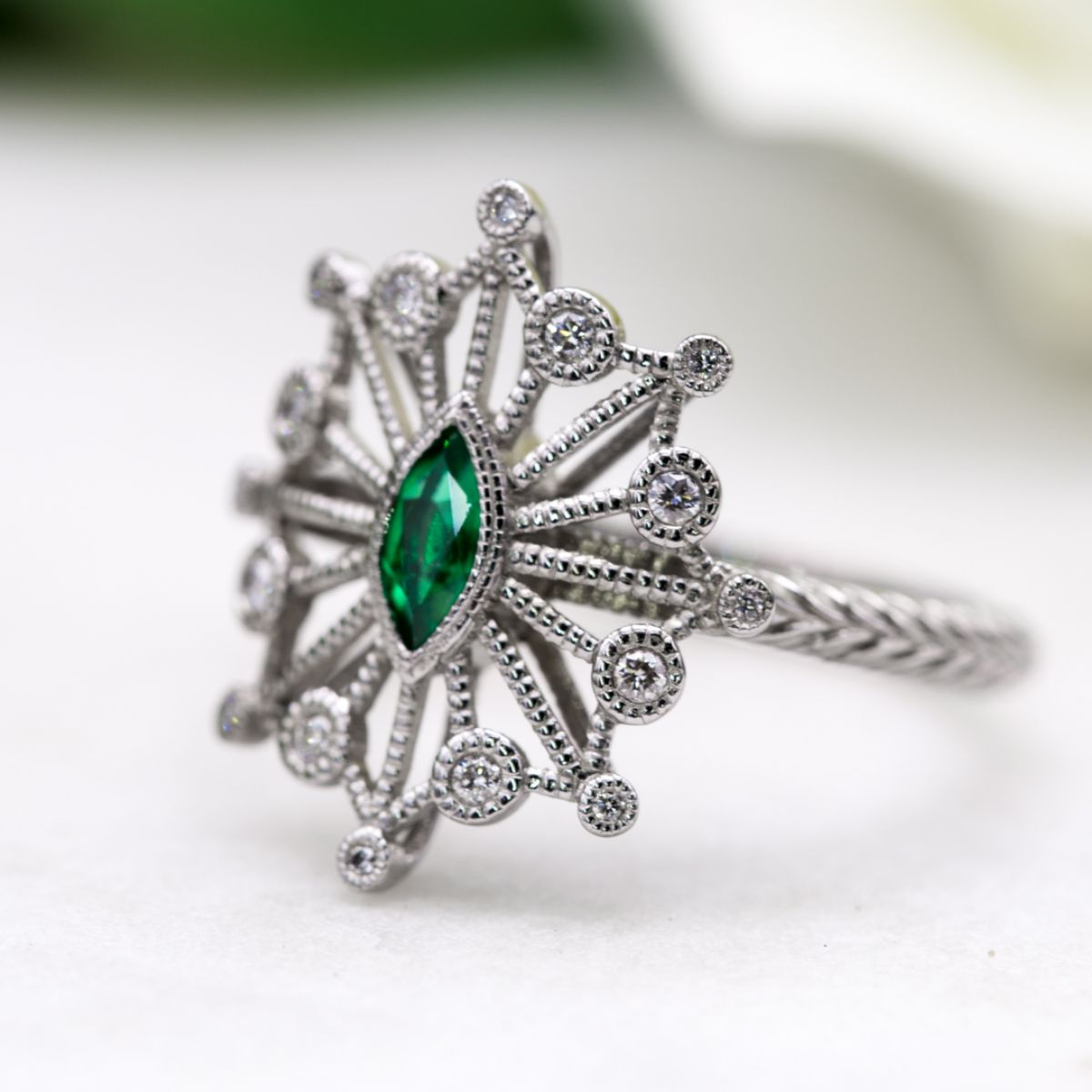 open art deco milgrain - vintage engagement rings