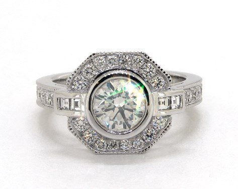 art deco octagon halo and milgrain - vintage engagement rings