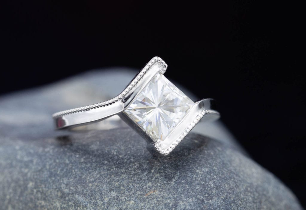 princess cut with bypass setting - engagement ring setting