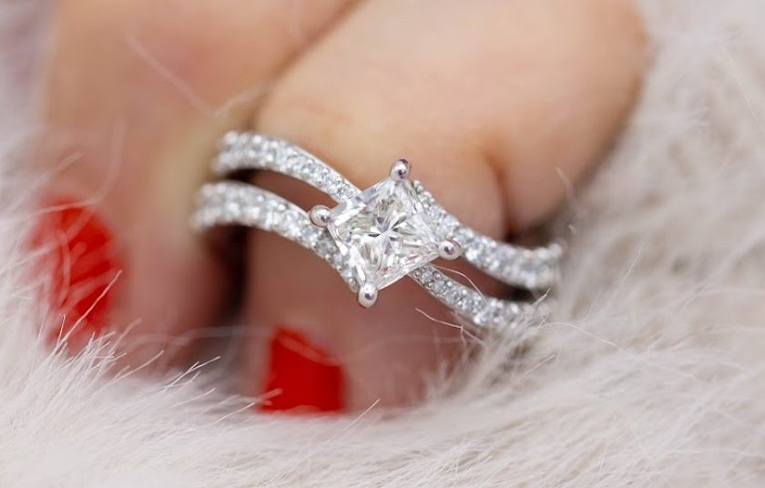 princess-cut diamond in pavé setting - engagement ring setting