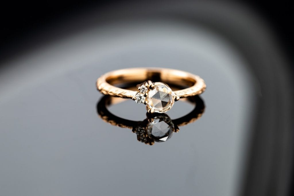 rose cut diamond - vintage engagement ring