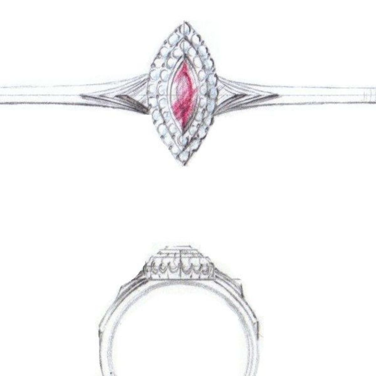 ruby double halo with chevrons - vintage engagement rings