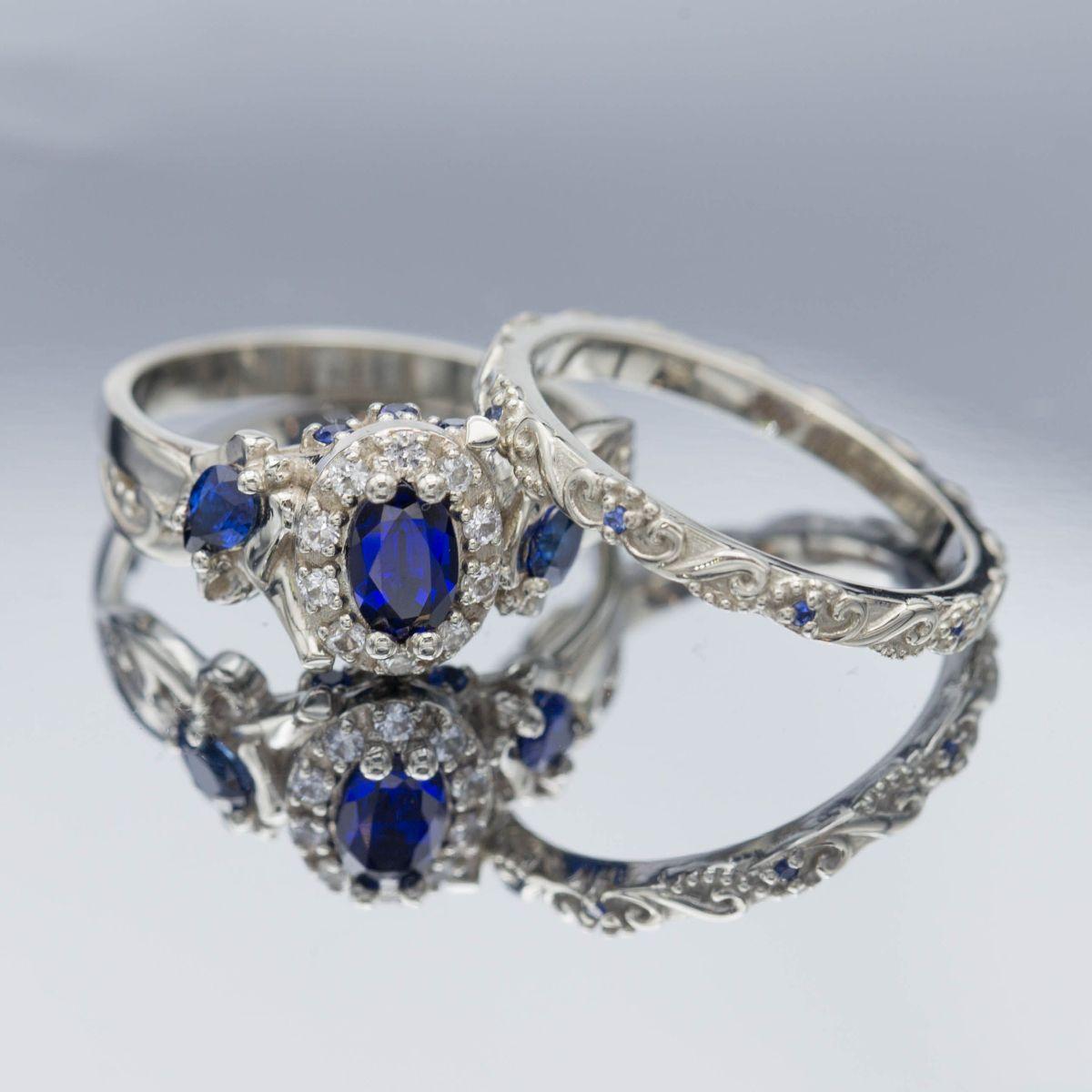 sapphire wedding set - vintage engagement rings