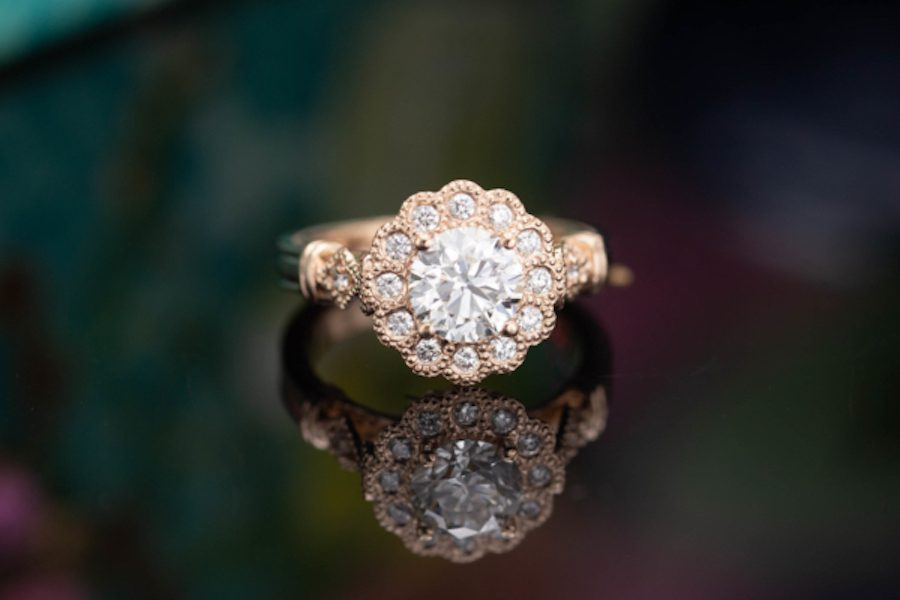 scalloped halo - engagement ring setting