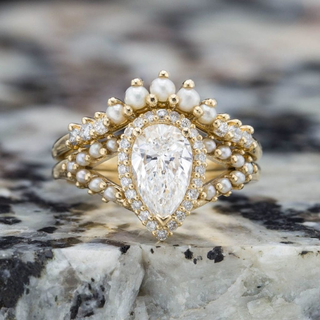 halo ring with seed pearls - vintage engagement ring