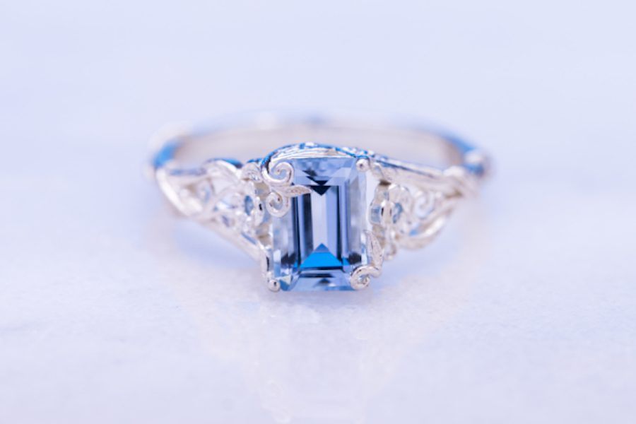 aquamarine in nature-inspired setting - engagement ring setting