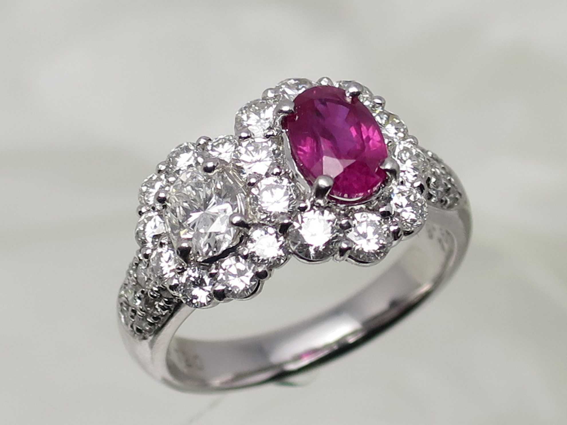 three stone halo ruby engagement ring