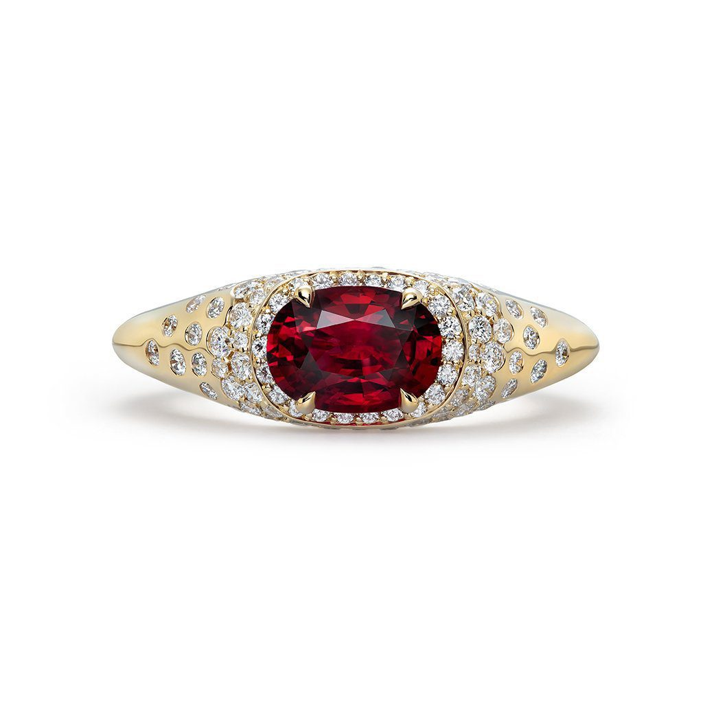 east-west style ruby engagement ring