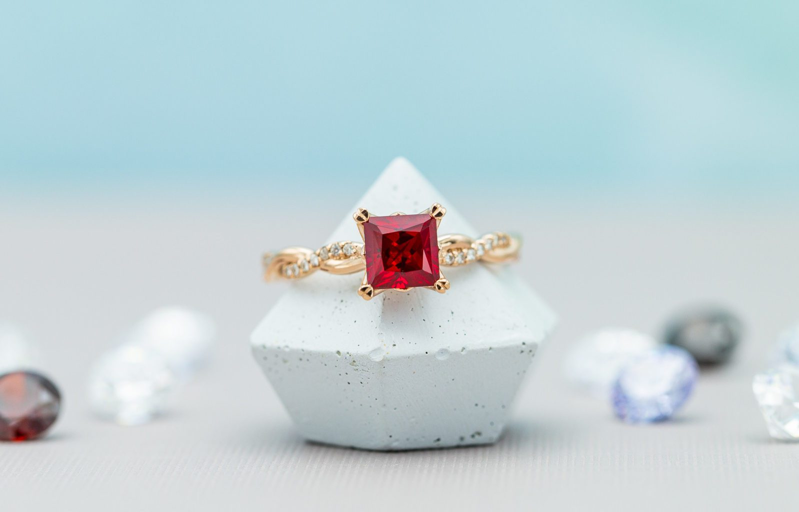 lab-made ruby ring