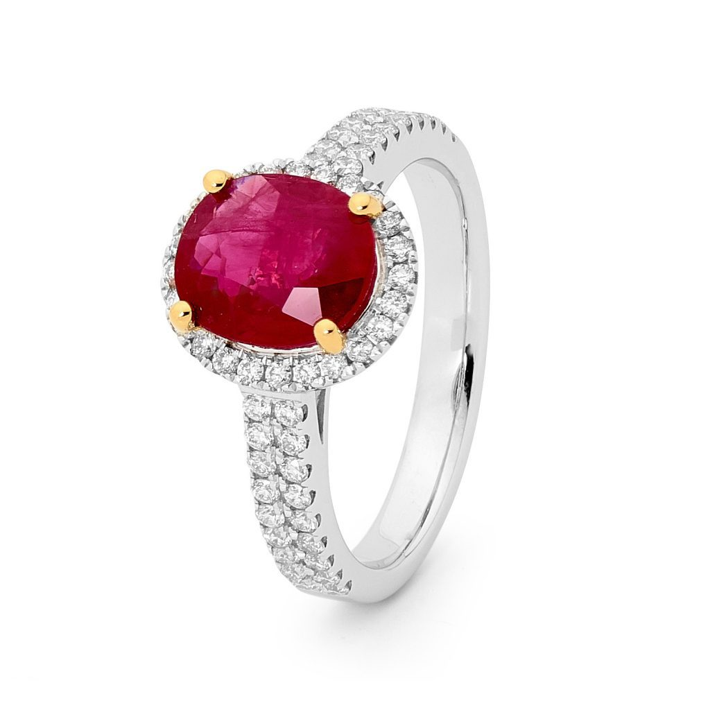 yellow gold prongs mixed metal ruby engagement ring