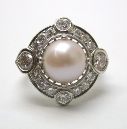 natural pink pearl ring - front