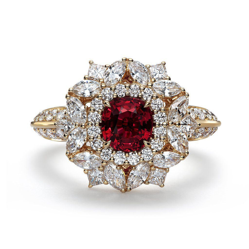 floral ruby engagement ring
