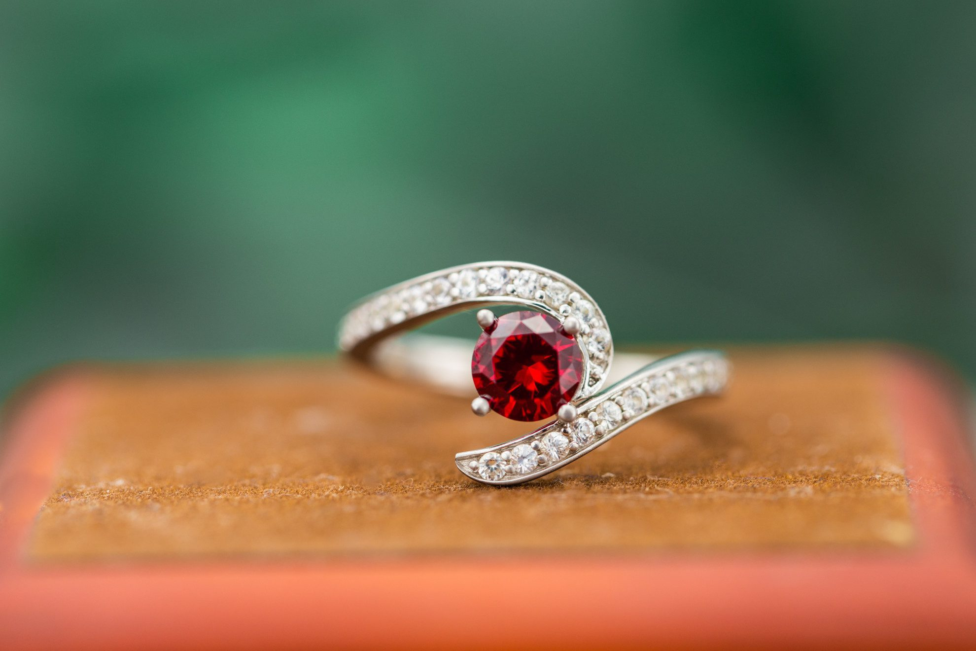 scultural ruby engagement ring