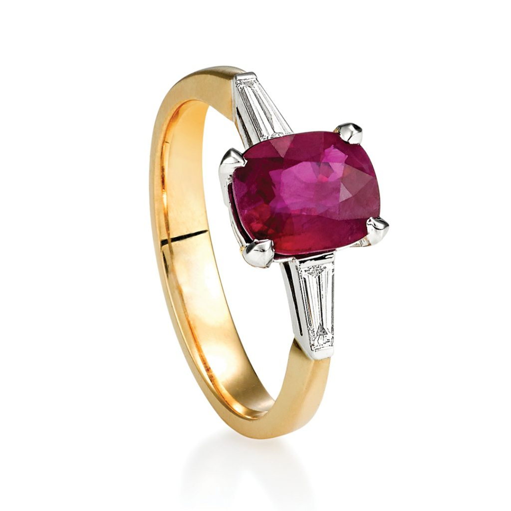 white gold prongs mized metal ruby engagement ring