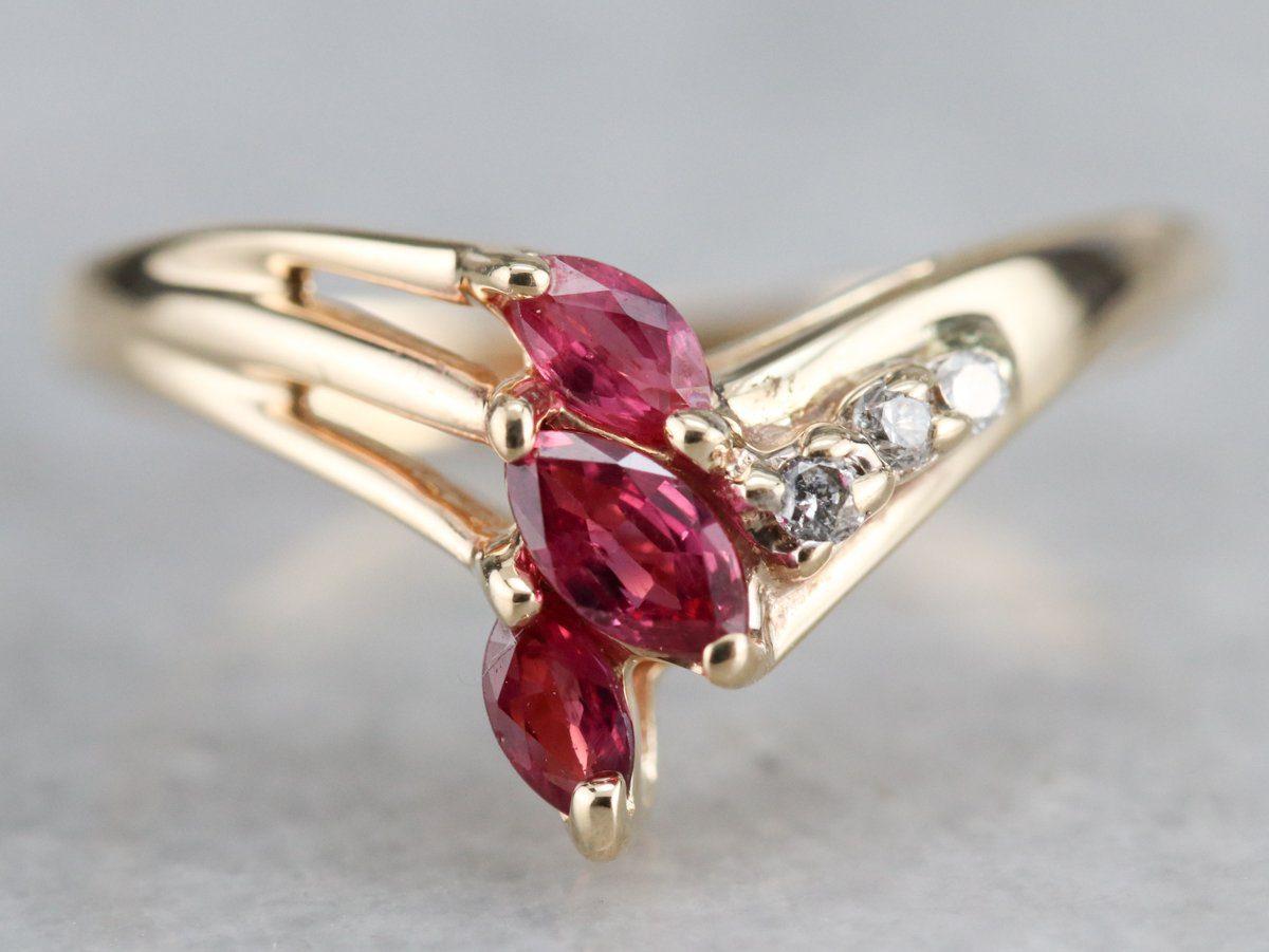 three ruby engagement ring