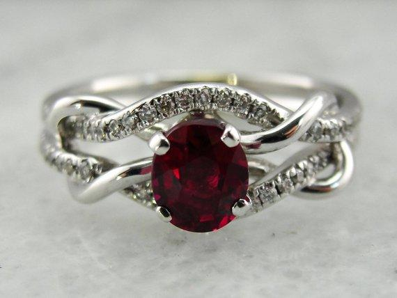 dark ruby engagement ring