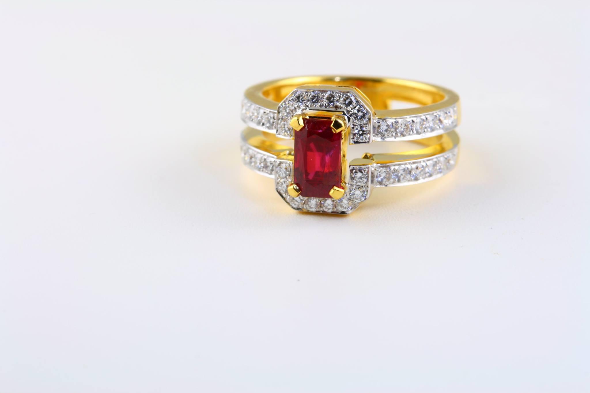 unheated burma ruby engagement ring