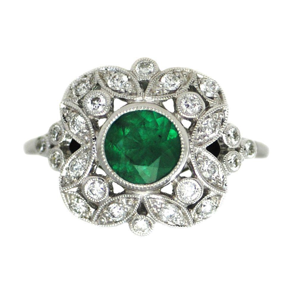 bezel floral ring