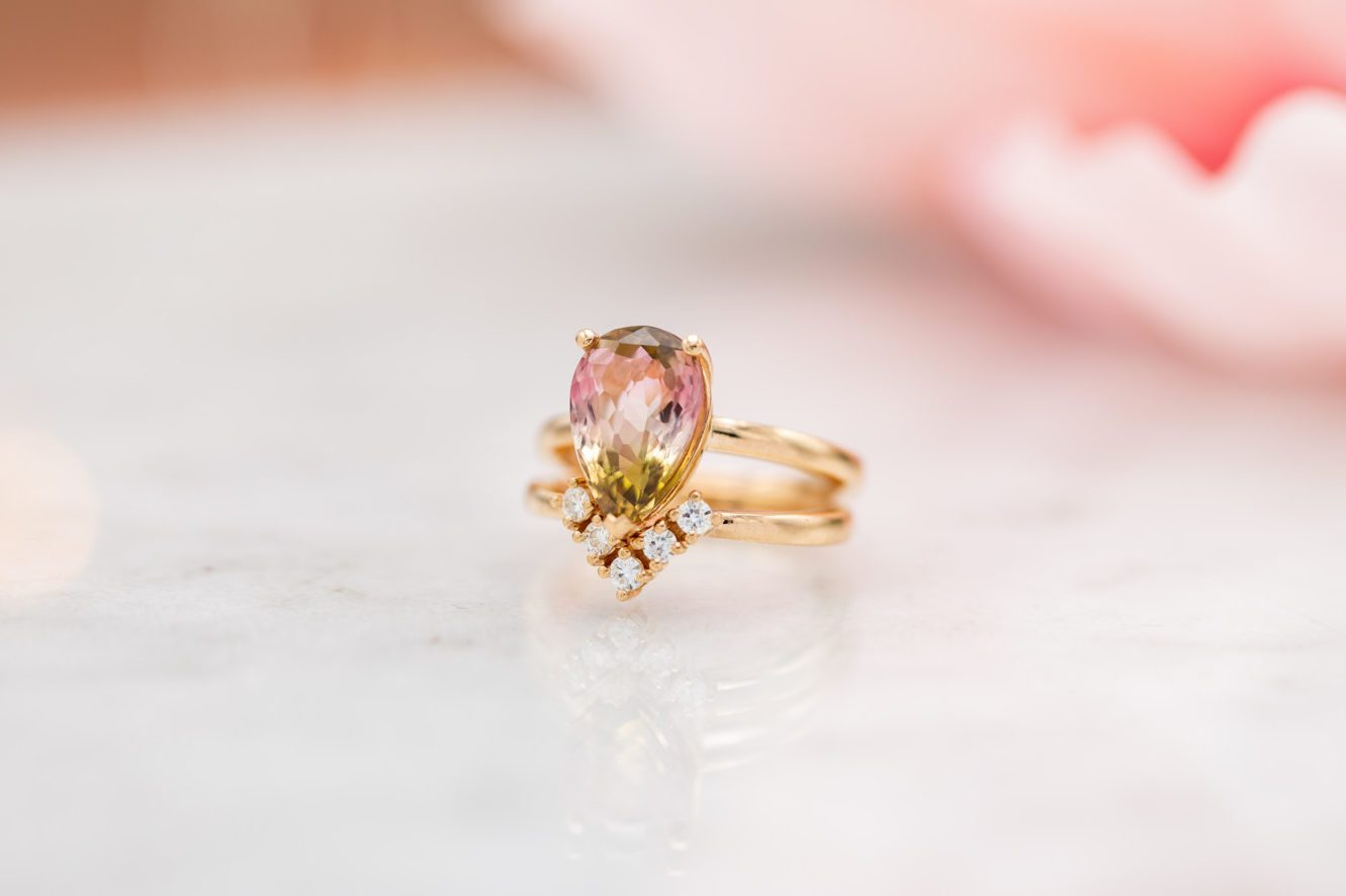 watermelon tourmaline engagement ring
