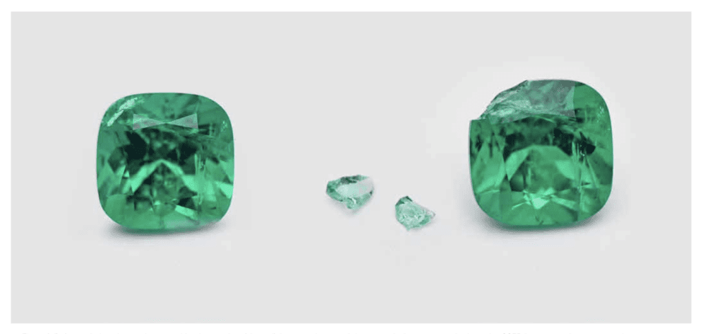 chipped emerald with cleaned fissure - emerald enhancements