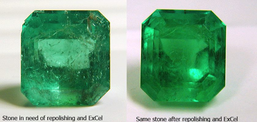 before and after - emerald repolished with ExCel