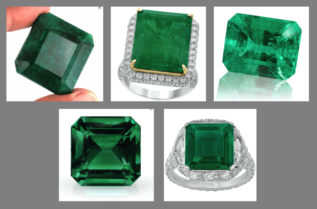 various emeralds, with and without enhancements