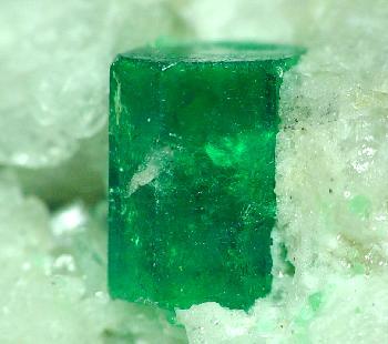 emerald on calcite matrix