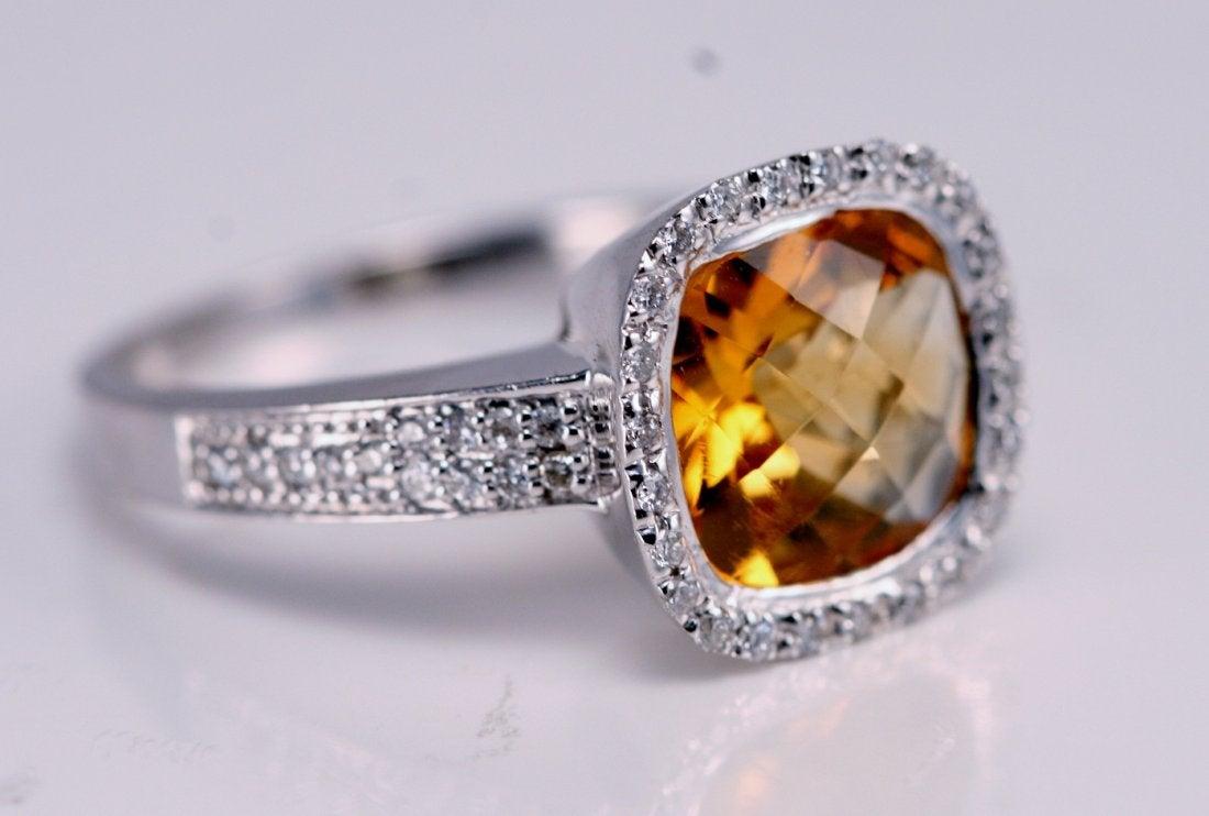 bezel halo citrine engagement ring