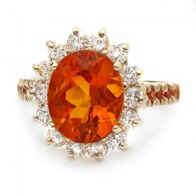 intense orange citrine engagement ring