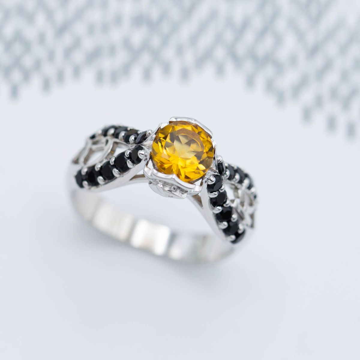 citrine engagement ring with onyx accents
