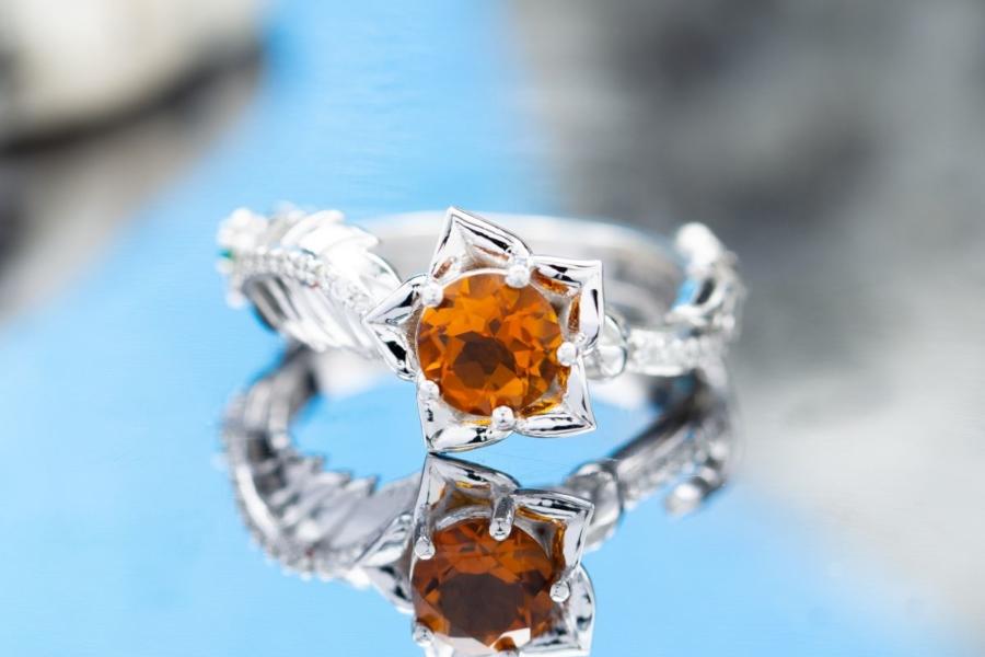 citrine flower engagement ring