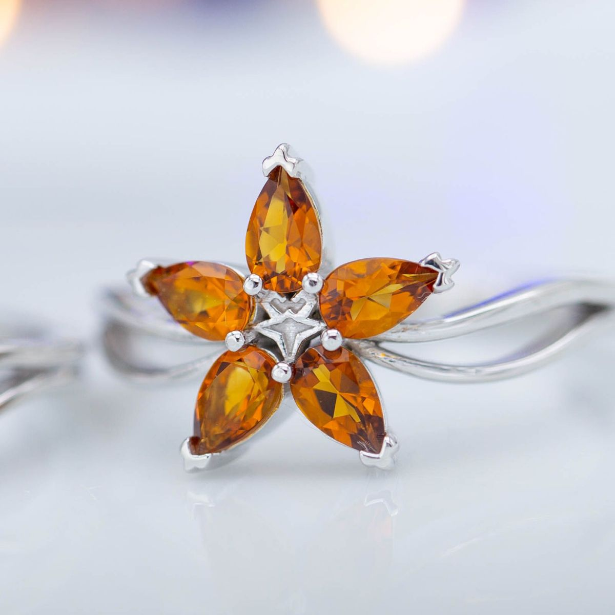 cluster style citrine engagement ring