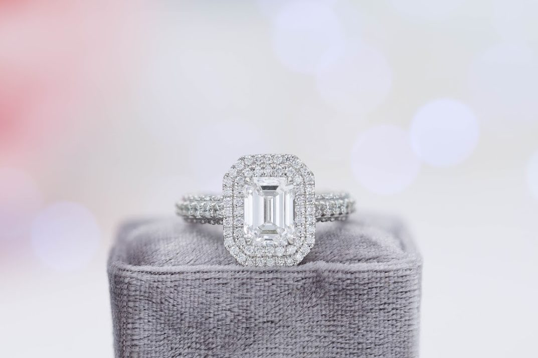 e color emerald cut engagement ring