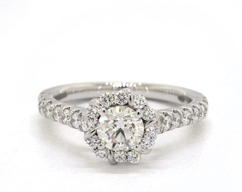 I color diamond in white gold halo ring