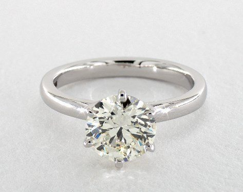 k color diamond in white gold solitaire ring