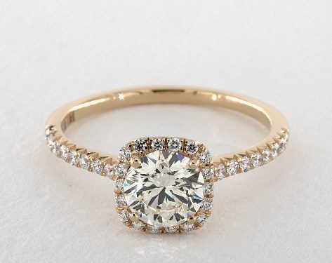 L color halo engagement ring