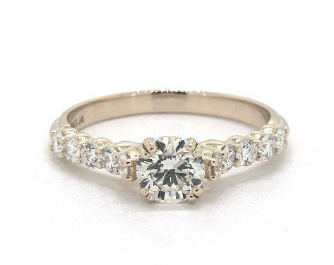 L color side stone engagement ring