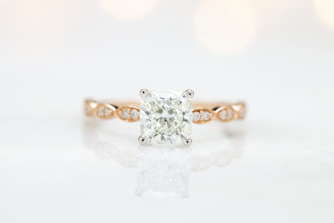 cushion cut diamond rose gold