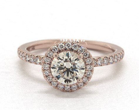 L color diamond in rose gold halo ring