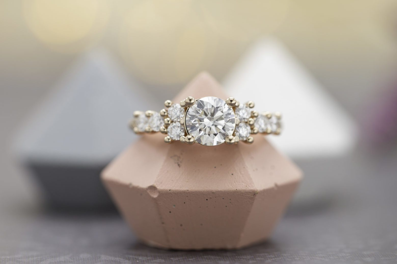 round diamond in rose gold engagement ring