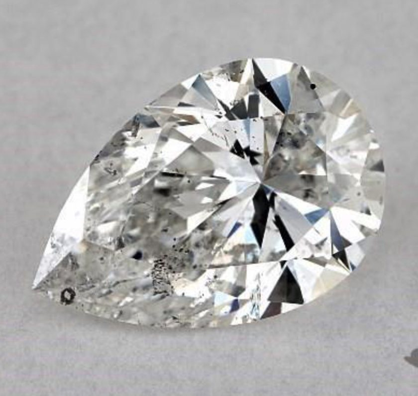 1.03-ct, pear cut, I1, with dark inclusion reflections