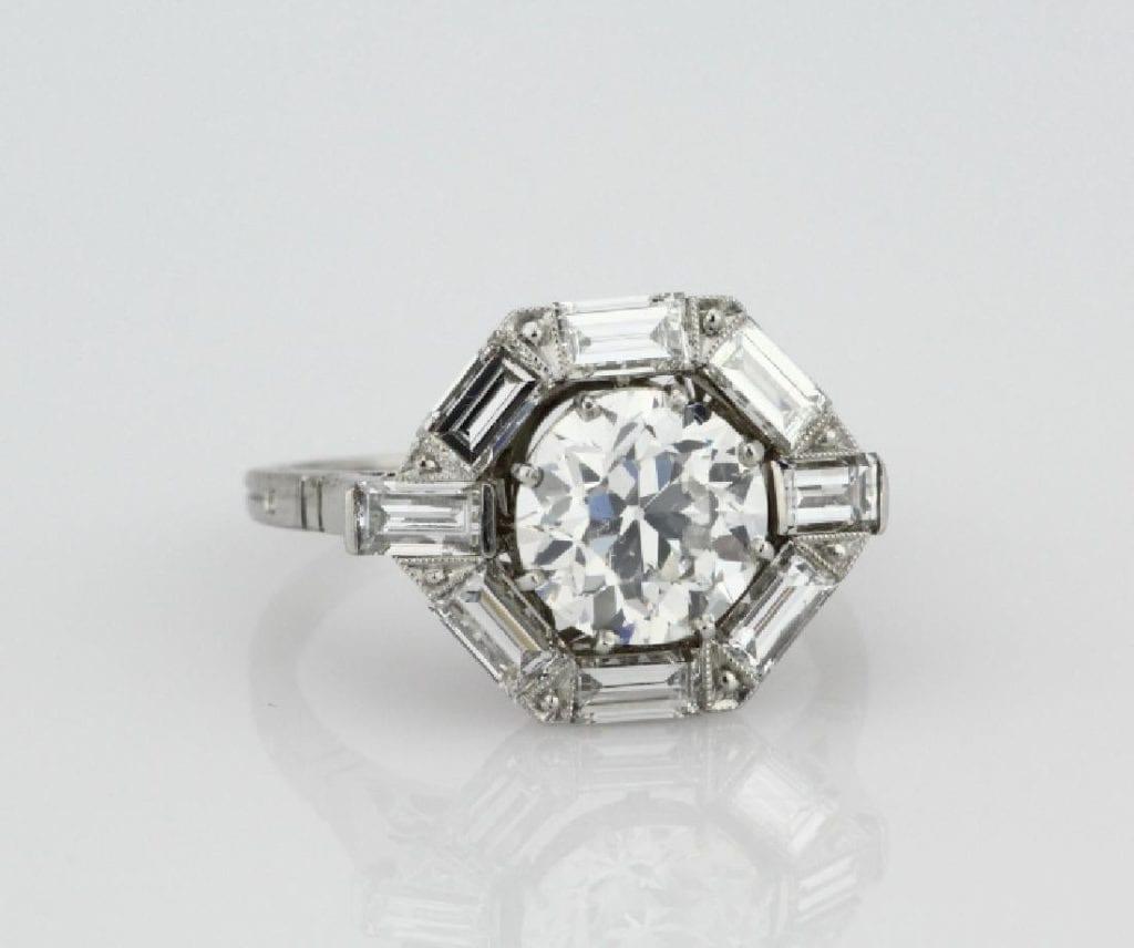 OEC diamond with bulge, platinum ring