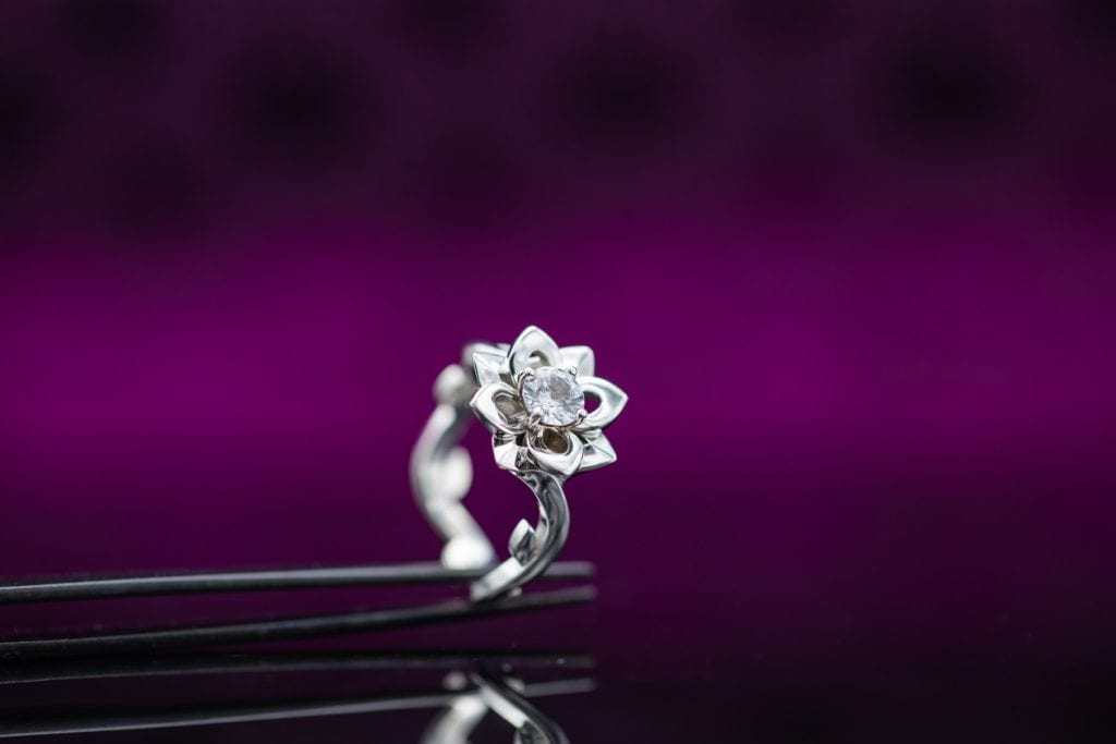 lotus ring with white sapphire center stone