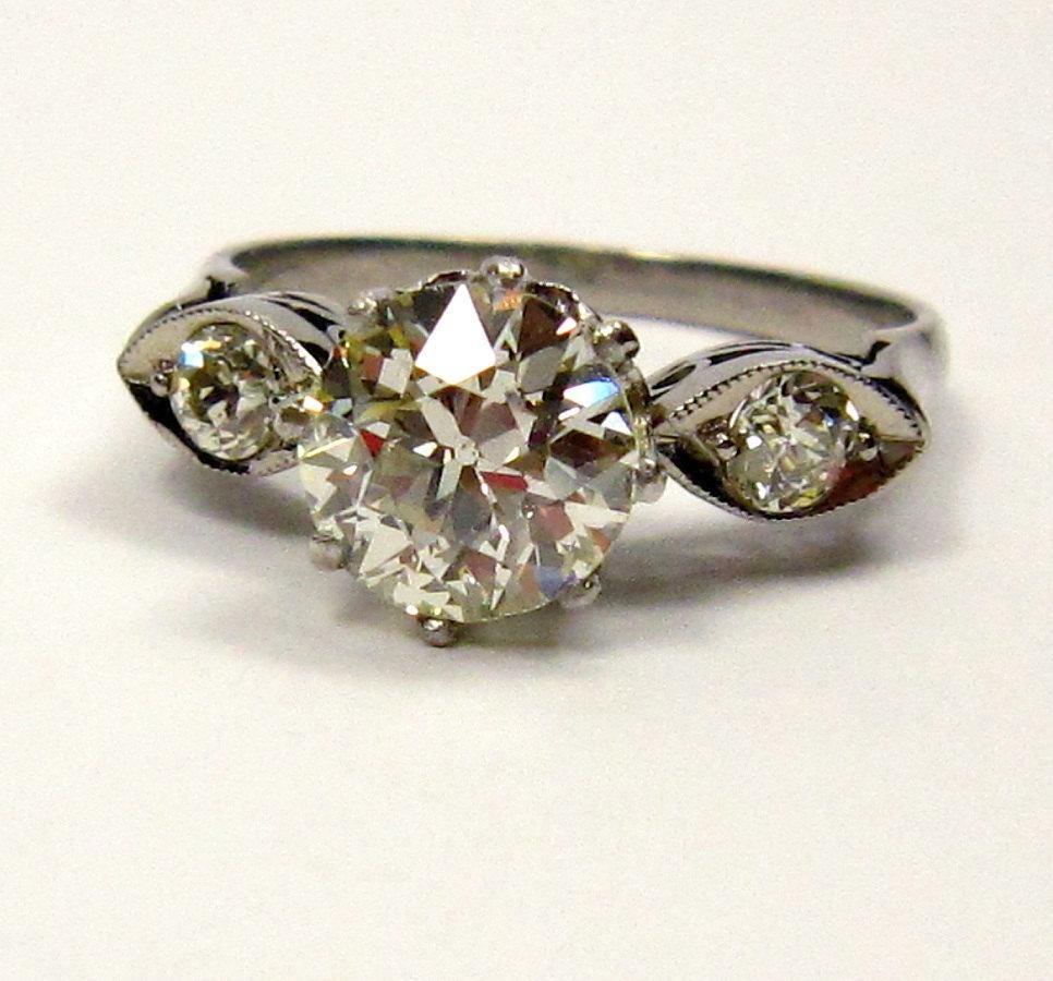 Art Deco engagement ring with OEC diamond