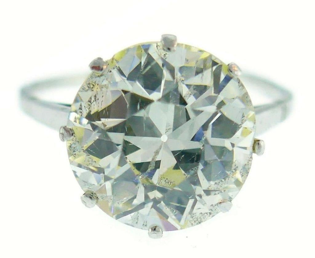 O color old European cut diamond in Art Deco platinum ring