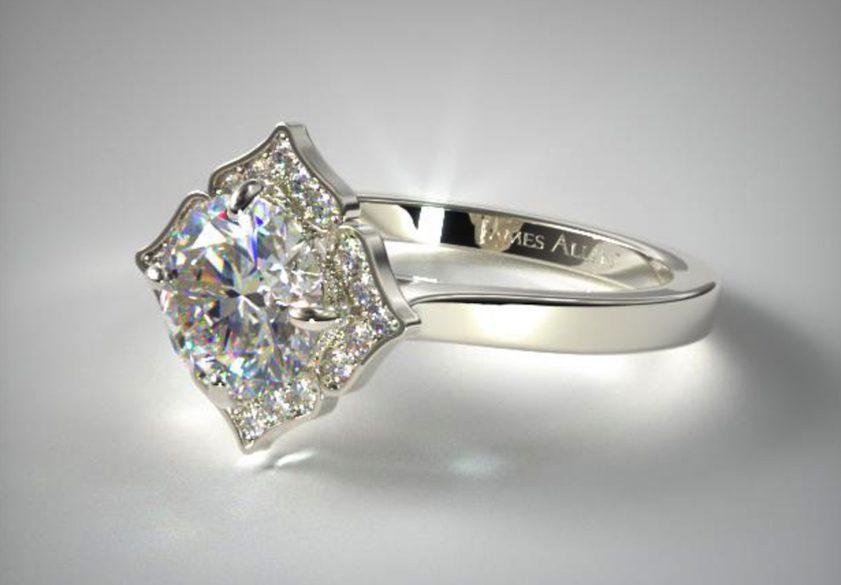 halo-style engagement ring