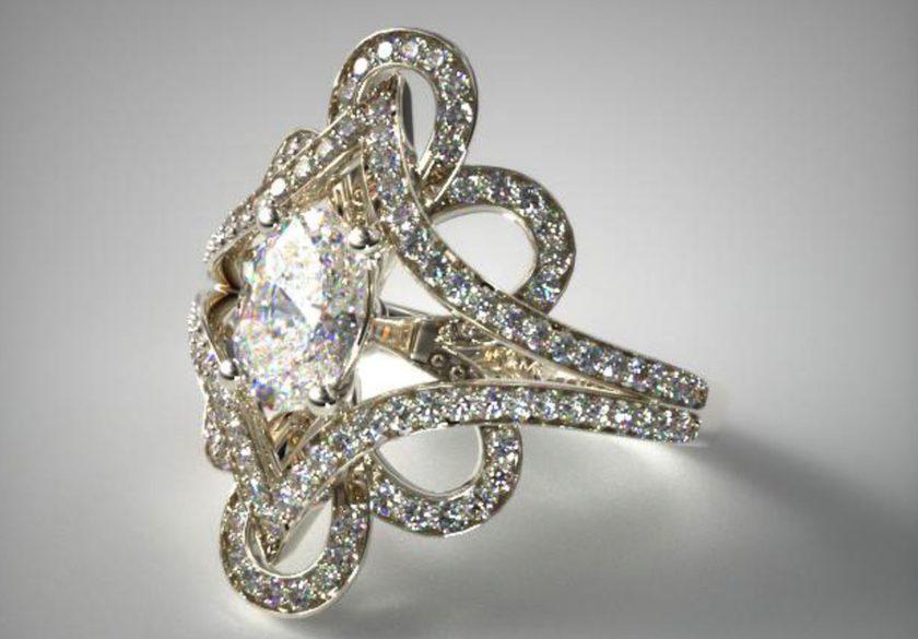 vintage soft floral engagement ring