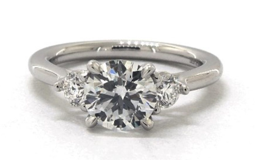 lab-created diamond in a platinum engagement ring