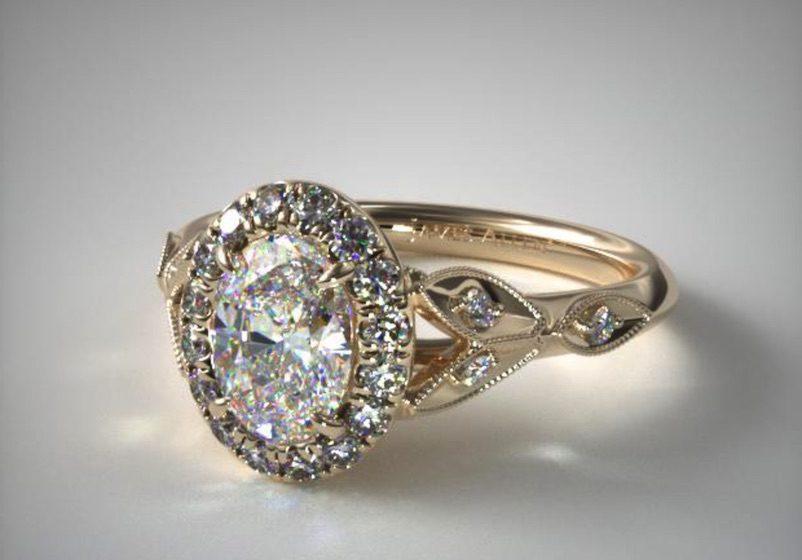 oval-cut diamond in a halo setting