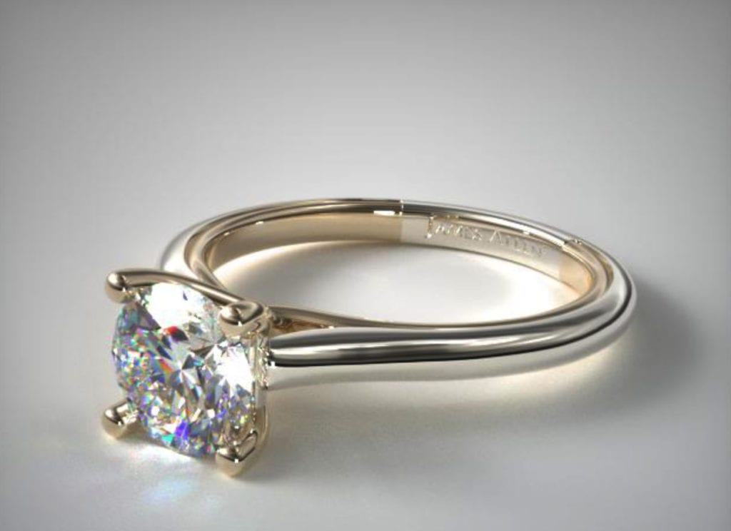 solitaire ring with modern brilliant-cut diamond